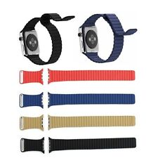 Genuine Stone Leather Loop Watch band Strap Magnetic Buckle For Apple Watch