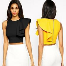 Womens One-shoulder Ruffle Back Zip Party Evening Cocktail Crop Top Black/Yellow