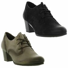 Marco Tozzi Womens Leather Black Grey Lace up Work Shoes