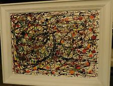 Jackson Pollock Style Abstract Original Oil Painting Fruit Trees 18x24""