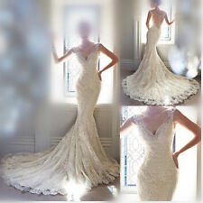 Mermaid White/Ivory Lace Wedding Dress Bridal Gown Custom Size 6 8 10 12 14 16 +