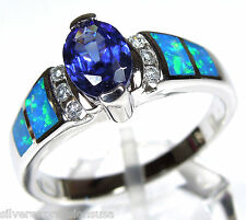 Tanzanite and Blue Fire Opal Inlay Solid 925 Sterling Silver Ring 5,6,7,8,9,10