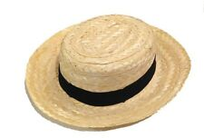 Adult DELUXE Straw Skimmer Hat Sailor Boater Captains Costume Medium Large