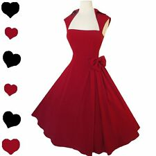 New 50s Retro Rockabilly Draped Red Party Dress M L Full Skirt Swing Prom Pinup