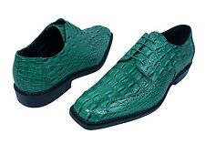 "Men's Dress Shoes ""BOLANO DARBY-015"" Jade Green Oxfords Lace Up Gator Print"