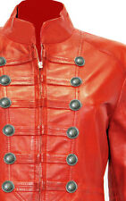 Ladies Red Pure Soft Sheep NAPPA Leather Military Syle Steampunk Jacket (MJ1)