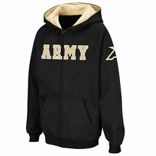 Youth Stadium Athletic Black Army Black Knights Straight Name Full Zip Hoodie