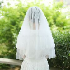 2T White Ivory Wedding Prom Bridal Veil Soft net Simple With Clear Comb Elbow