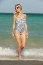 Catalina Women's Double Strap One-Piece Blue Leopard Print Swimsuit CAT108