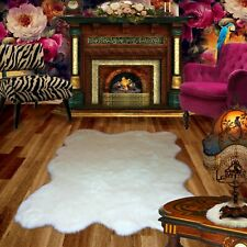 FUR ACCENTS White Premium Faux Fur Shag Rug /  Random Polar Bear / Sheepskin