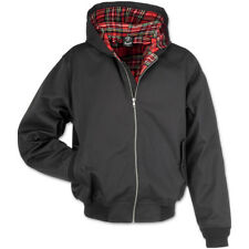 BRANDIT LORD CANTERBURY MENS HOODED JACKET ENGLISH HARRINGTON TARTAN COAT BLACK