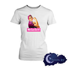 Pink Rosie, We Can Do It - Breast Cancer Awareness Ribbon Ladies T-Shirt