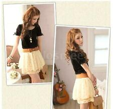 NEW Women Chiffon Lace Skirt Polka Dot Pleated Mini Skirt Elastic Waist Skirt LS