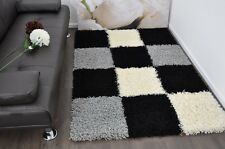 Black & Grey Checked Modern Plain 5cm Shaggy Rugs Thick Soft Pile Area Rug Mats