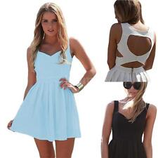 Sexy Women Mini Dress Backless Cut Out V Neck Sleeveless Party Cocktail Dress