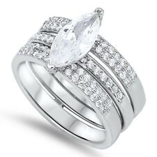 Sterling Silver Ring - Silver Wedding Ring Sets Engagement CZ