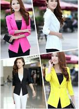 Womens Slim Blazer Candy Color Three Quarter Sleeve Suit One Button Thin Coat LS