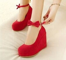 Fashion Lady Women Pumps Wedge High Heels Bowknot Ankle Strap High-heel Shoes