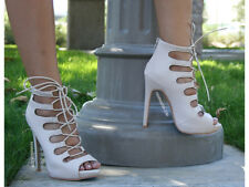 NUDE LACE UP HIGH HEELS CAGED PEEP TOE OPEN STILETTO PLATFORM PUMPS ANKLE NEW