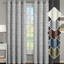 Set of Two Blair Jacquard Grommet-Top Window Curtains, 100% Pure Polyester Panel