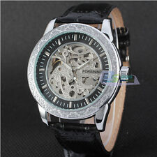 Specialty Automatic Skeleton Dial Leather Band Alloy Case Mens Watch Wristwatch
