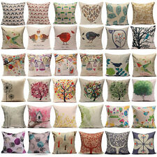 Bird Tree Linen Cotton Pillow Case Back Throw Cushion Cover Home Sofa Car Decor