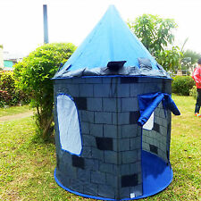 Folding Blue Knight Play Tent Kids Castle Cubby House for Child's Christmas Gift