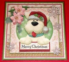 Handmade Greeting Card 3D Cottage Chic Christmas With A Dog In A Santa Hat