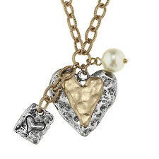 """Brass Hammered Finish 1"""" Tall Heart, Simulated Pearl Necklace Adjustable Length"""