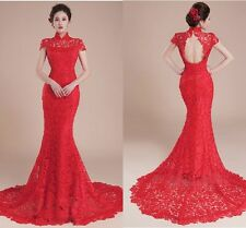 Sexy Hot Sale Red Mermaid Lace Wedding Dress Bridal Gown Custom Made All Size