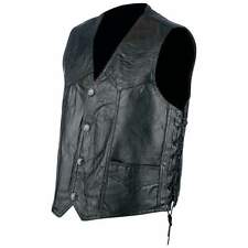 Mens Genuine Leather Motorcycle Vest with laces Black  biker MC CUT