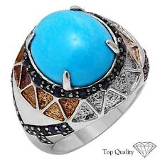 9.76 CT Genuine Turquoise  & Sapphire Ring in 925 Sterling Silver