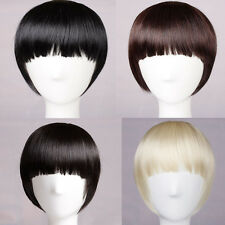 long Side straight Bangs Neat Fringe Clip on Clip In Hair Extensions piece new I