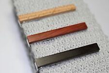 Wood Wooden Tie Clip Tie Bar Silver Color Clasp in Brown Black or Light Natural