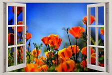 Red Poppy Field Painting 3D Window View Decal WALL STICKER Home Decor Art Mural