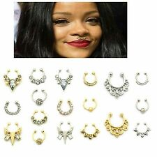 1pc Nose Septum Ring Fake Piercing Clip On Gold Silver Faux Body Jewelry Women