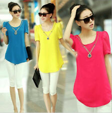 New Fashion Women Casual Chiffon Blouse Short Sleeve Shirt T-shirt Summer Tops