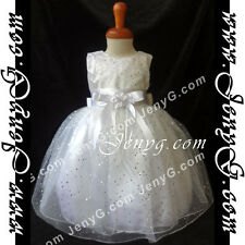 #SP41 Flower Girl/Christening/Formal/Holiday/Party Gown Dress, White 0-5 Years