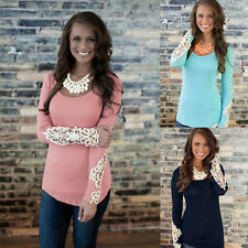 Autumn Fashion Lace Sleeve Floral Lace Casual Slim T Shirt Blouse Tops Womens