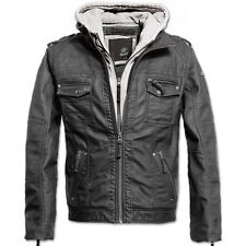 Brandit Black Rock Mens Biker Jacket Pu Leather Hooded Motorbike Parka Coat Grey