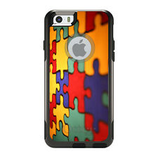 OtterBox Commuter for iPhone 5S SE 6 6S 7 Plus Red Blue Yellow Puzzle Pieces