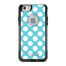 OtterBox Commuter for iPhone 5S SE 6 6S 7 Plus White & Blue Polka Dots