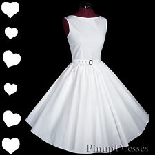 New White 50s Rockabilly Pinup Wedding Full Skirt Prom Party Dress S M Vtg Style