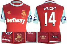 *15 / 16 - UMBRO ; WEST HAM UTD HOME SHIRT SS + PATCHES / WRIGHT 14 = SIZE*