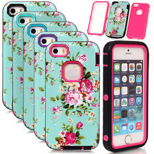 Armor Glossy Peony Flower Pattern Soft Hard Shockproof Case For iPhone 4S 5S SE