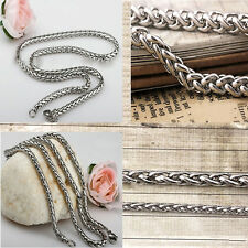 "3/4/5/6MM 18-36"" Good Quality MENS Braided Chain Necklace Silver Stainless Steel"