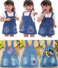 NEW Lovely Kids Girls Toddler Baby cartoon straps denim skirt baby party Dresses
