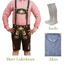 Authentic German Bavarian Oktoberfest Short Lederhosen Shirt Socks Package GP827