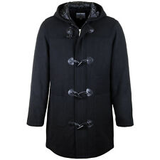 BRAND NEW MENS WOOL DUFFLE COAT HOODED VINTAGE WARM WINTER LONG PADDED JACKET