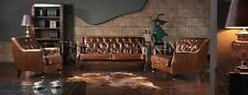 A113  VINTAGE sofa, antique leather lounge, couch retro old. CHESTERFIELD